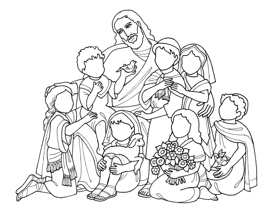 Flat jesus project battered blessed and still for Jesus blesses the children coloring page